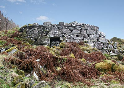The imposing front view of the broch at Totaig