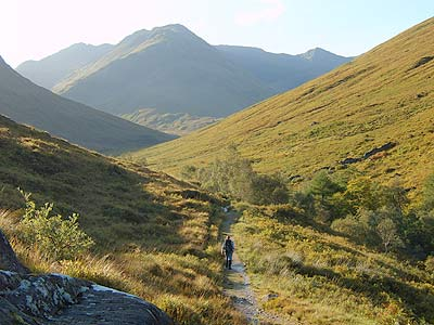 Walking up a wee path in the glen - perfect picture of what its like on the mountain trails of Lochalsh and trekking in Lochalsh generally